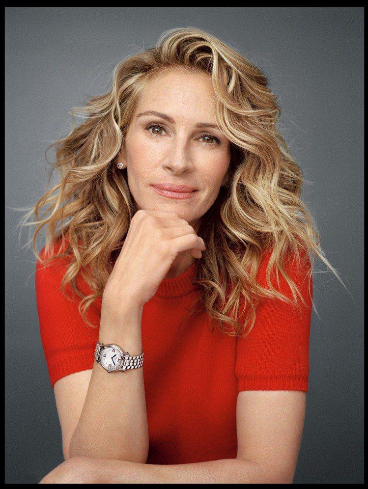 茱莉亞羅勃茲配戴蕭邦腕錶。 圖/蕭邦 提供