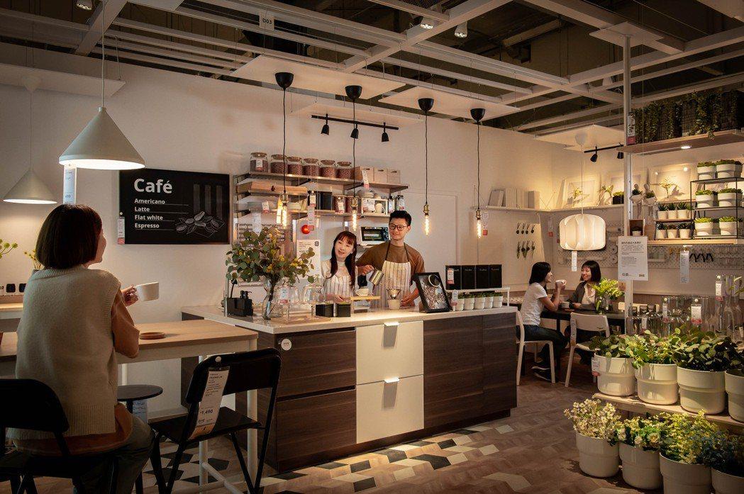 IKEA內湖店特別打造花店咖啡廳複合式商用展示間。 圖/IKEA提供