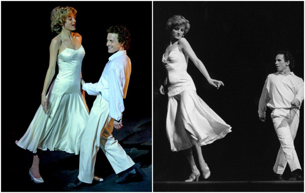 圖左為第四季第九集,查爾斯37歲生日時,黛妃為給丈夫驚喜,特意與歌劇院舞者表演一...