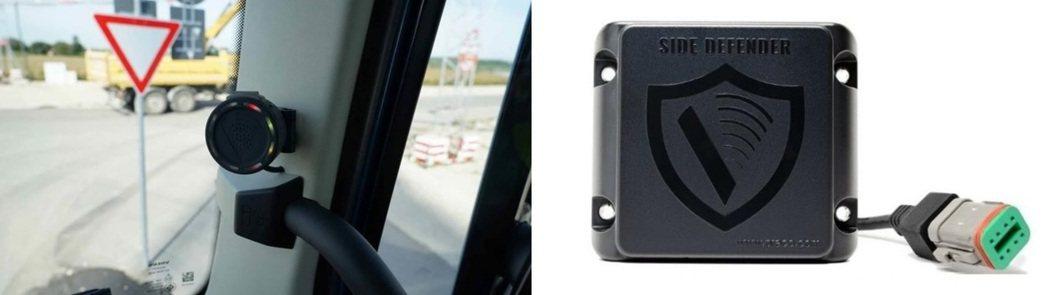 (左)圖說:雷達顯示器,兩紅及兩黃燈號,表示駕駛人員打右轉彎方向燈,雷達已經偵側...