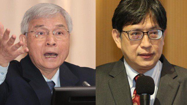 被外界稱為「尊彭」的中央銀行總裁楊金龍(左)與「反彭」的副總裁陳南光。 報系資料...