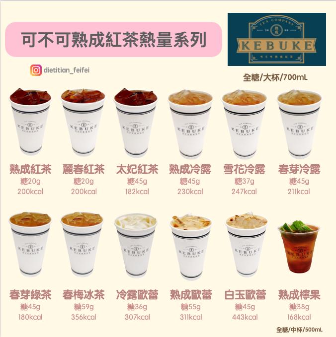 營養師菲菲_可不可熟成紅茶熱量及含糖量