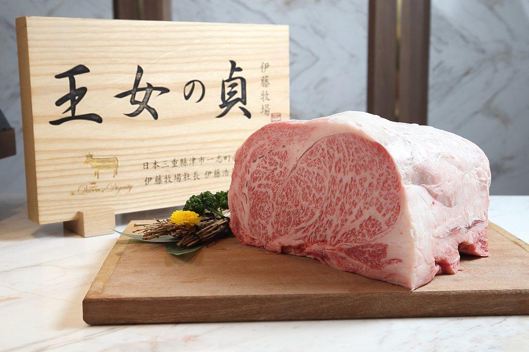 頂級的「松阪伊藤牧場A5和牛」,同樣是樂軒選用的肉品之一。。記者陳睿中/攝影
