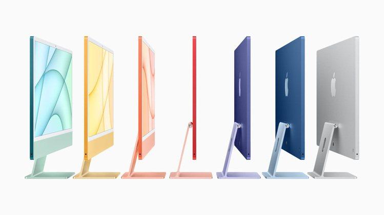 擁有7種繽紛色彩、搭載M1晶片的全新iMac,售價39,900元起。圖/蘋果提供