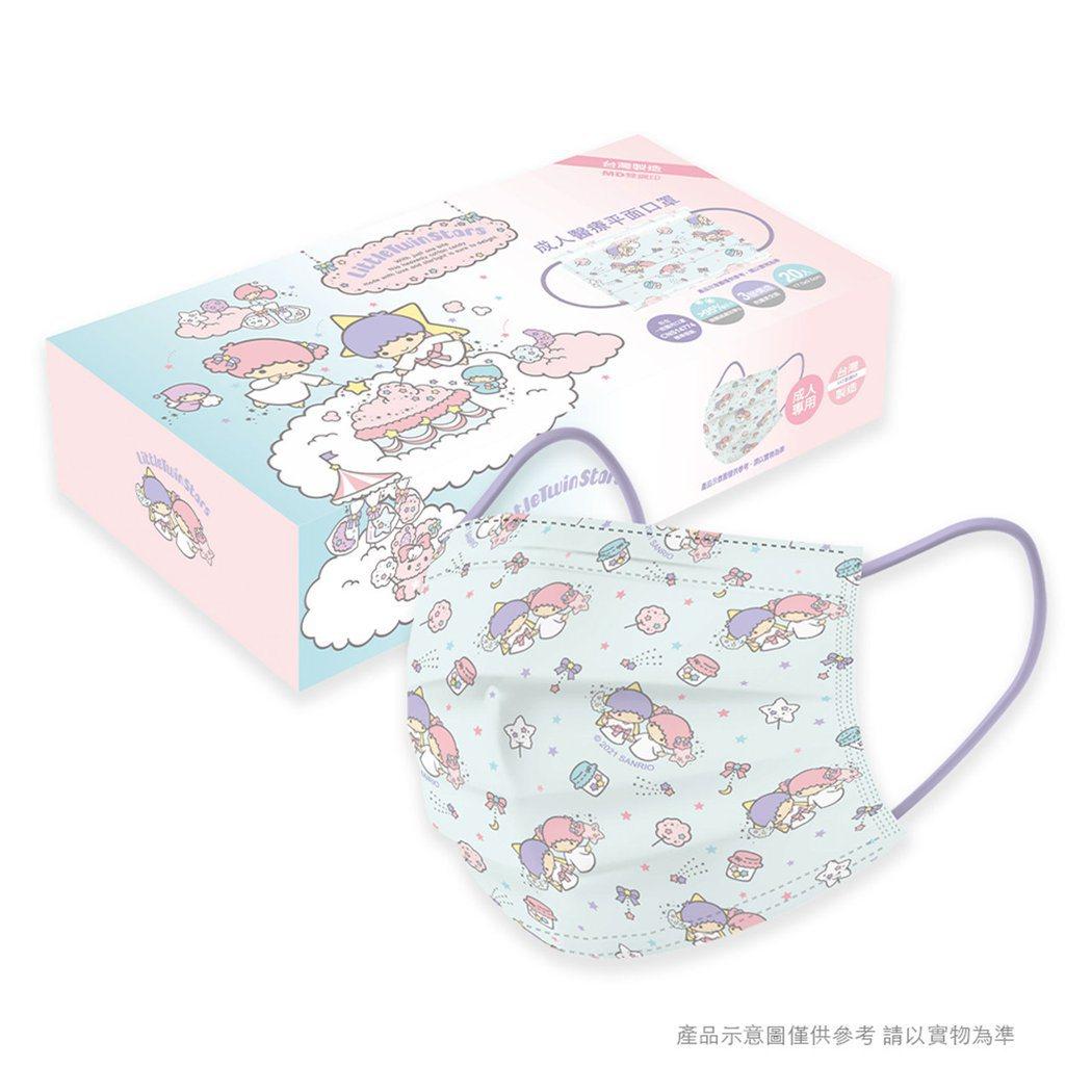 「三麗鷗系列」-雙子星成人醫療口罩+外盒。(照片:momo購物網提供)