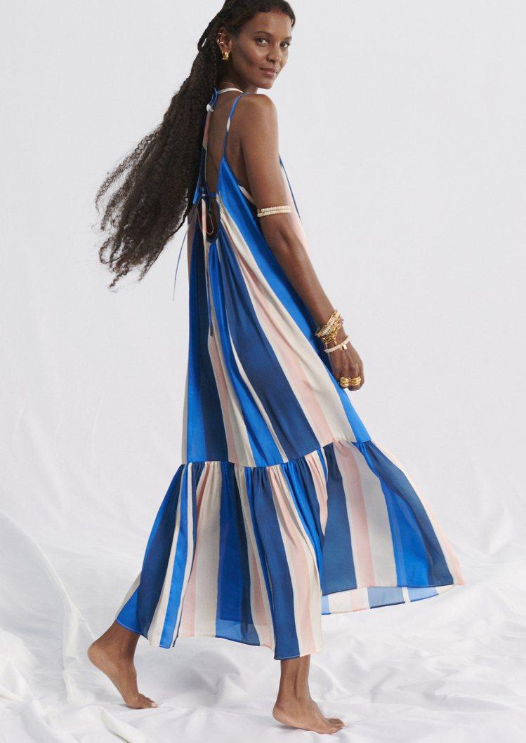 H&M lemlem聯名系列細肩帶長裙1,799元。圖/H&M提...
