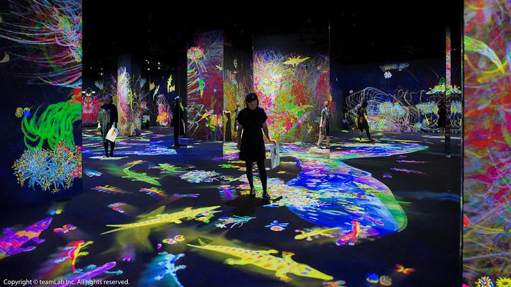 在「塗鴉自然: 迷失、沉浸與重生」展區中,由觀展民眾塗鴉畫出的生物,仿佛被注入生...