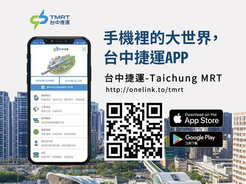 台中捷運綠線4月25日中午12時起正式通車,台中捷運官方APP「台中捷運-TaichungMRT」今天正式上線。圖/中捷公司提供