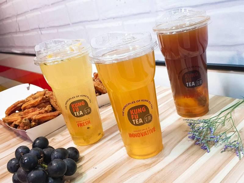 美國功夫茶新推出小小葡萄紅、小小葡萄綠、小小葡萄香等3款飲品。記者陳睿中/攝影