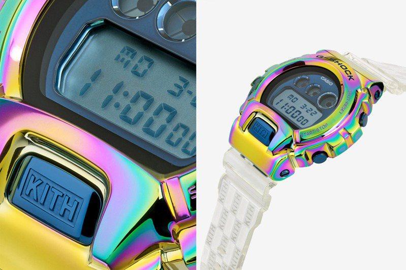 G-Shock再度跨界潮牌KITH以經典的6900系列為基礎,搭配品牌近年最擅長的電鍍技術,讓腕表呈現奪目的炫彩效果。圖/Casio提供