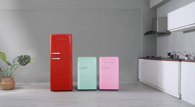 聲寶歐風美型冰箱共有2種不同尺寸、3款搶眼色彩,打造幸福生活空間。圖/聲寶提供