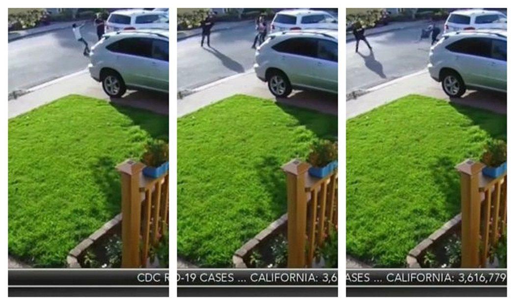美國加州聖利安卓日前發生武力搶劫與劫車未遂事件,監視器拍到其中一位被害人有如摔角...