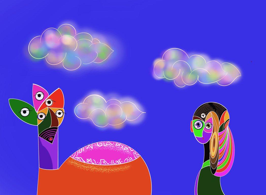 香巴拉公主與五眼神駝。香巴拉公主是李善單新一支NFT藝術動畫的主角。 台北新藝術...
