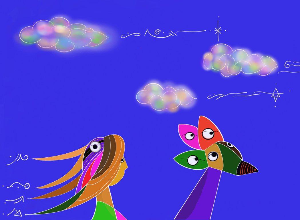 五眼神駝載著香巴拉公主御風而行。台北新藝術博覽會/提供