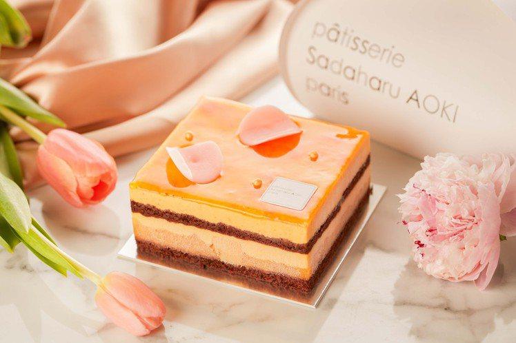 青木定治特製芒果巧克力蛋糕。 圖/茹絲葵經典牛排館提供。