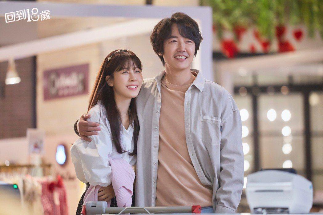 金荷娜(左)與尹相鉉在「回到18歲」中飾演夫妻。圗/衛視中文台提供