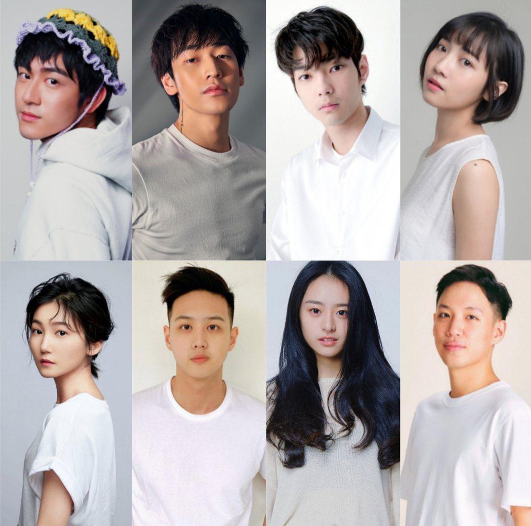 「植劇場2」公布新人演員名單,包刮鎮萬鈞(上排左起)、林貫易、鄭湋曄、林映彤;王