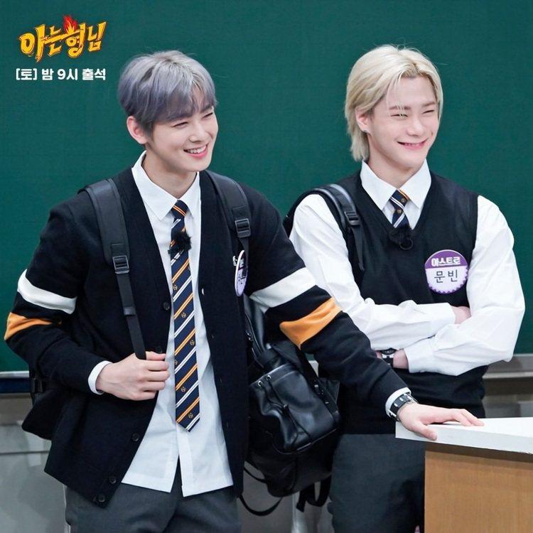 車銀優(左)在韓國綜藝節目「認識的哥哥」穿了FRED PERRY的針織衫外套。圖...