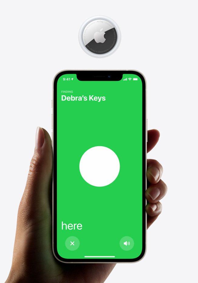 蘋果推出智慧防丟器AirTag,可更精準找尋物品位置。圖/翻攝自蘋果官網