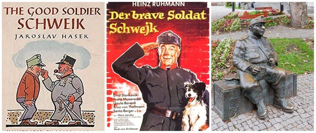 圖/好兵帥克的英文書封、1960年西德翻拍的電影劇照、以及位於波蘭的雕像。