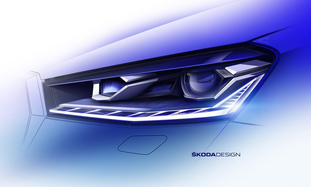 第四代ŠKODA Fabia頭燈造型變得相當兇悍,同時亦使用了家族式L型LED日...