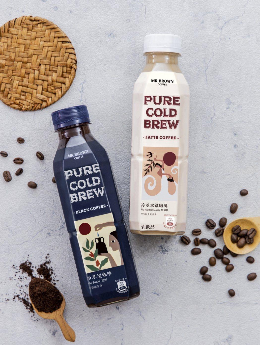 金車「伯朗PURE醇飲冷萃無加糖咖啡」選用寶特瓶型切入市場,一次滿足攜帶方便、隨...