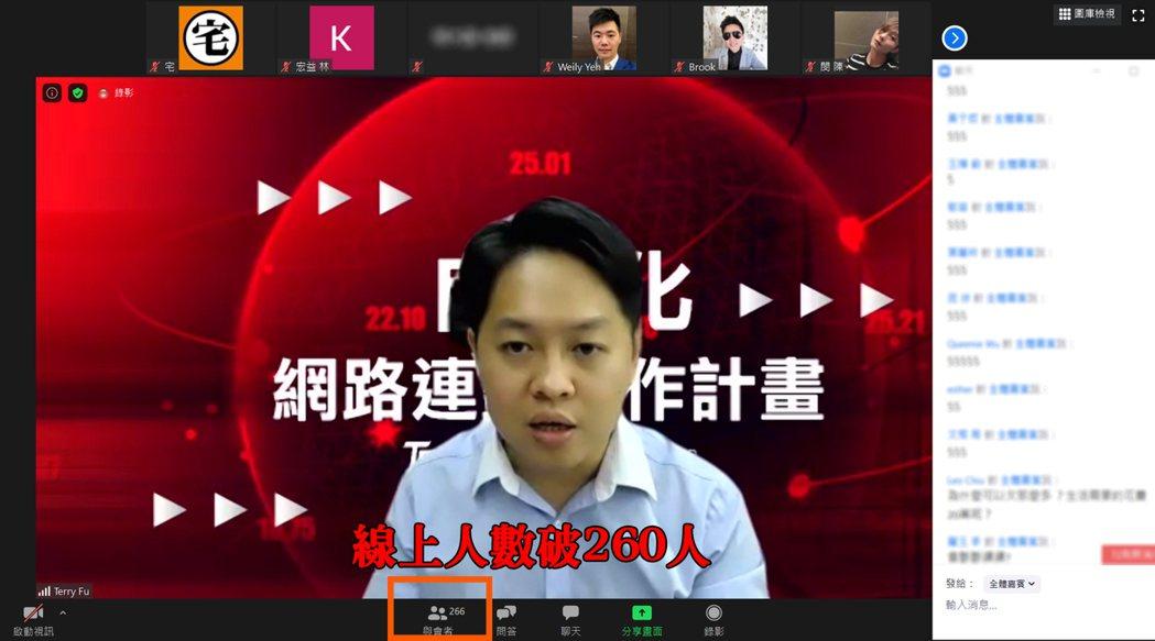 傅靖晏舉辦的單一場線上網路研討會參與人數超過260人、兩場更吸引近500人同時上...