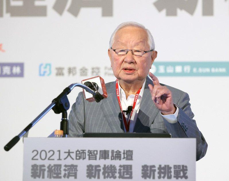 台積電創辦人張忠謀出席2021「大師智庫論壇」,以珍惜台灣半導體晶圓製造的優勢為主題演講。聯合報系資料照/記者林澔一攝影