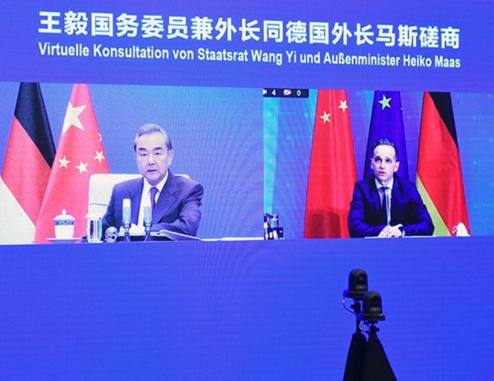 大陸國務委員兼外交部長王毅,與德國外長馬斯舉行視頻磋商。圖:大陸外交部