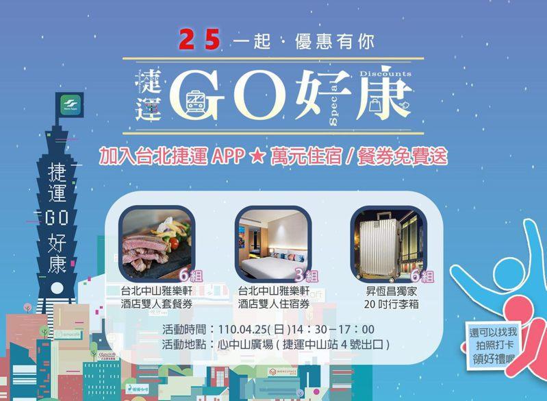 北捷宣布每月25日為「台北捷運GO」APP會員獨享日。圖/北捷提供