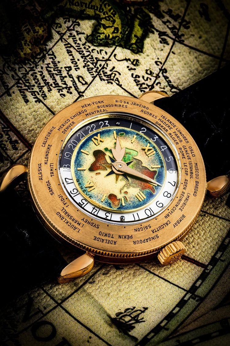 佳士得首場鐘表晚間拍賣「驚世傳奇」呈獻百達翡麗型號1415的18K紅金世界時間腕...