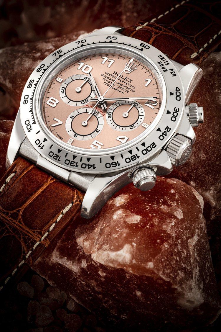 勞力士型號16519的18K白金自動上鍊迪通拿計時腕表配鮭魚色表盤,約1997年...