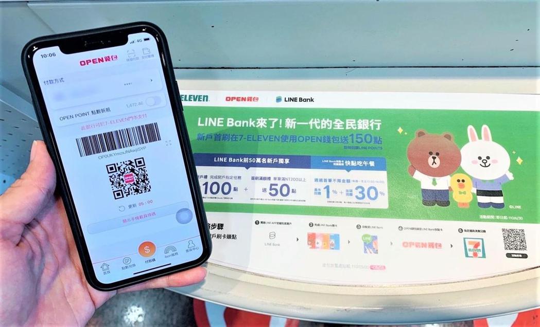 OPEN錢包攜手LINE Bank舉辦跨通路消費滿額雙贈點活動。圖/7-ELEV...