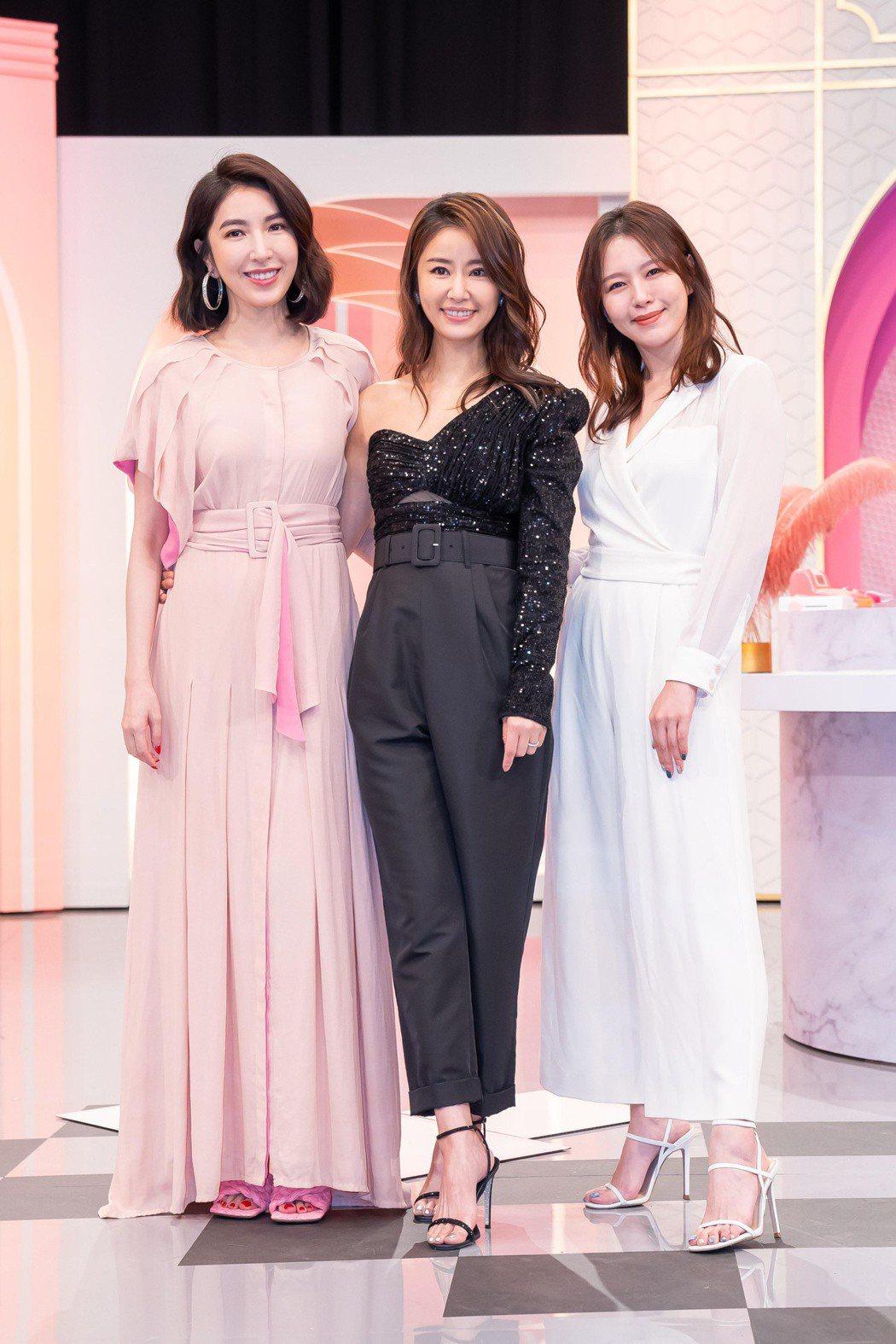 楊謹華(左起)、林心如和劉品言上「女人我最大」宣傳新戲。圖/TVBS提供