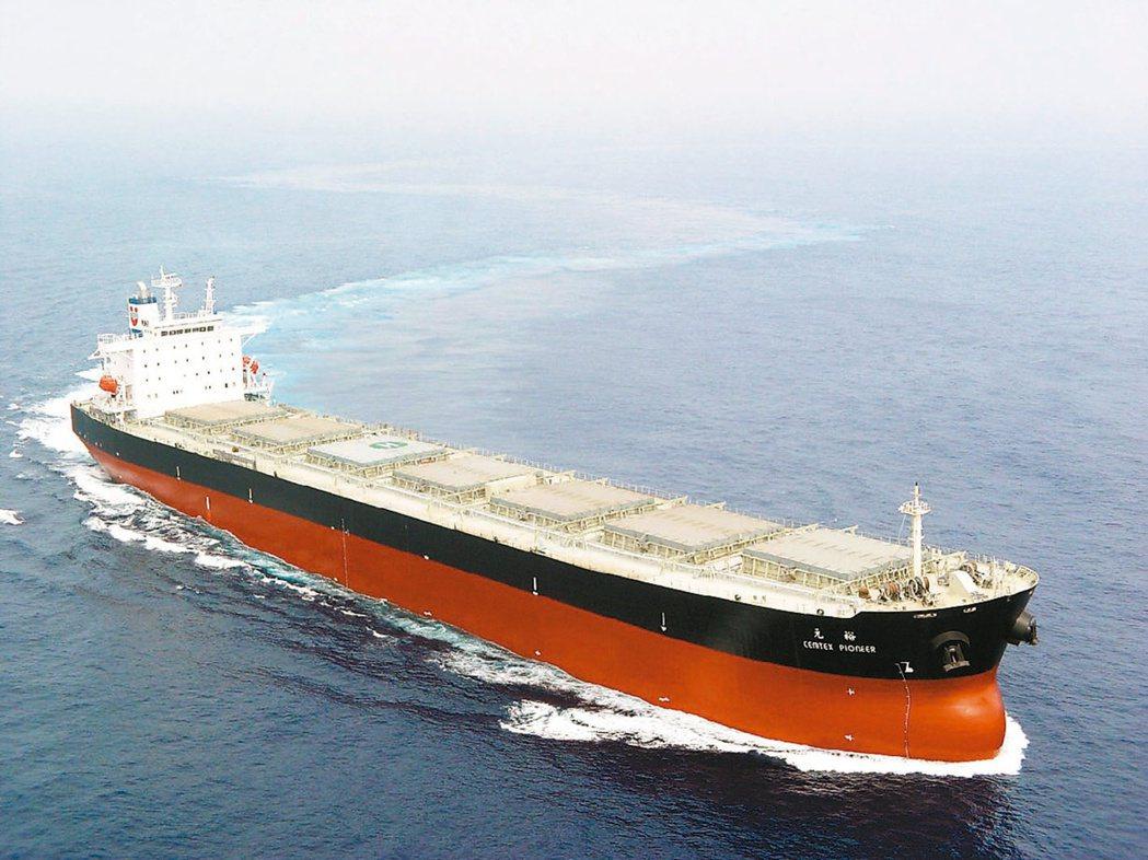 全球鐵礦砂運輸需求強勁,散裝、海岬型船日租金一年來暴漲近15倍。圖為裕民旗下船舶...