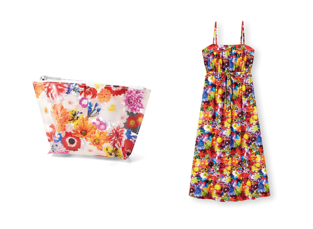 (左)女裝透明小包;(右)女裝印花細肩帶連身裙。 圖/GU Taiwan提供