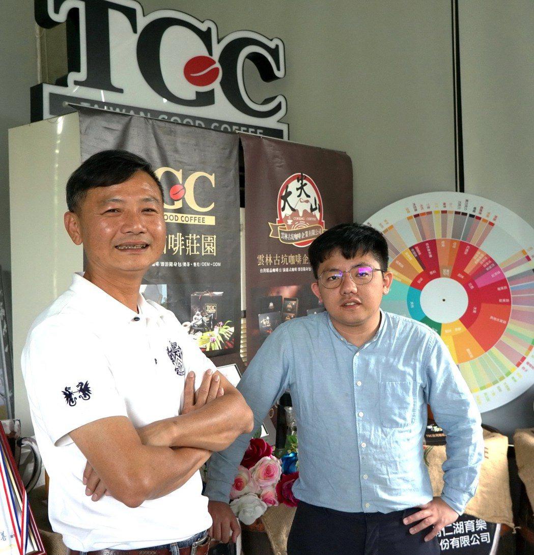 TGC創辦人徐飴鴻(左)和長子徐健傑,期望台灣成為世界咖啡品牌。圖/于國華提供
