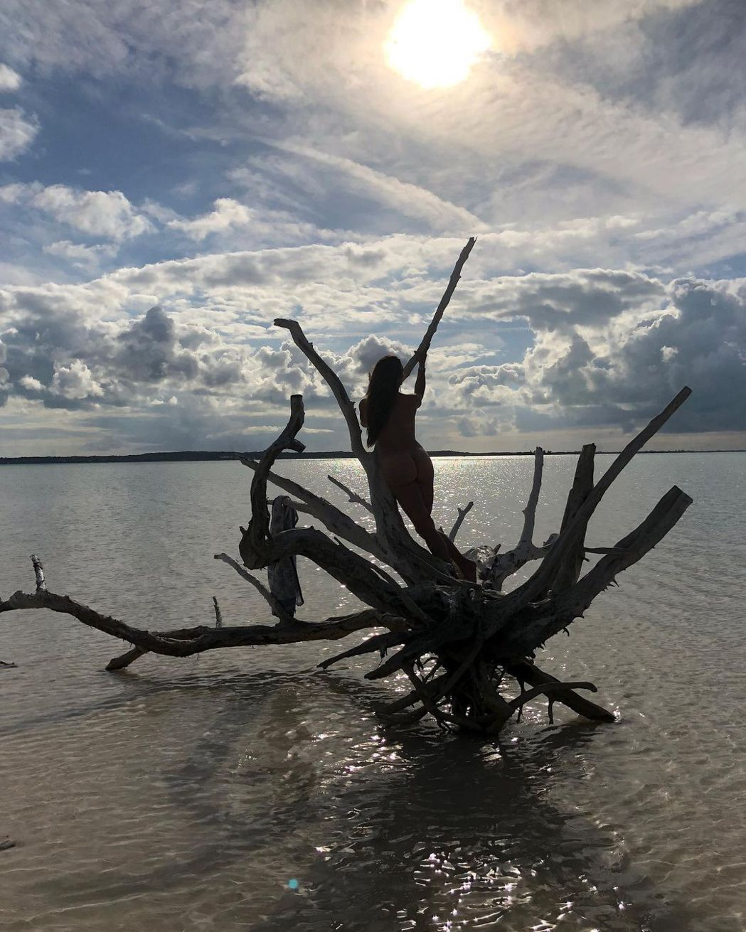 布魯克雪德絲發布在野外全裸的照片配合世界地球日主題。圖/摘自Instagram