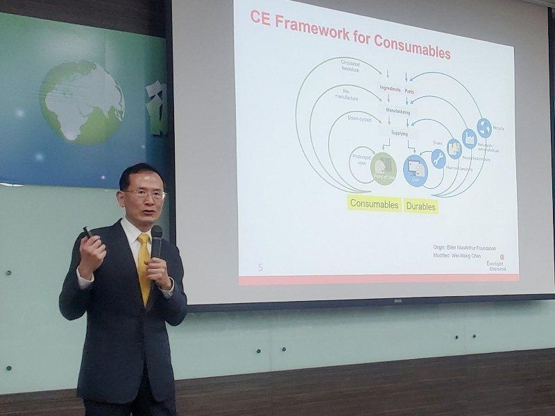 永光化學工業總經理陳偉望以幽默的口吻演說,期待在「循環經濟系統蝴蝶圖」中可以找到...