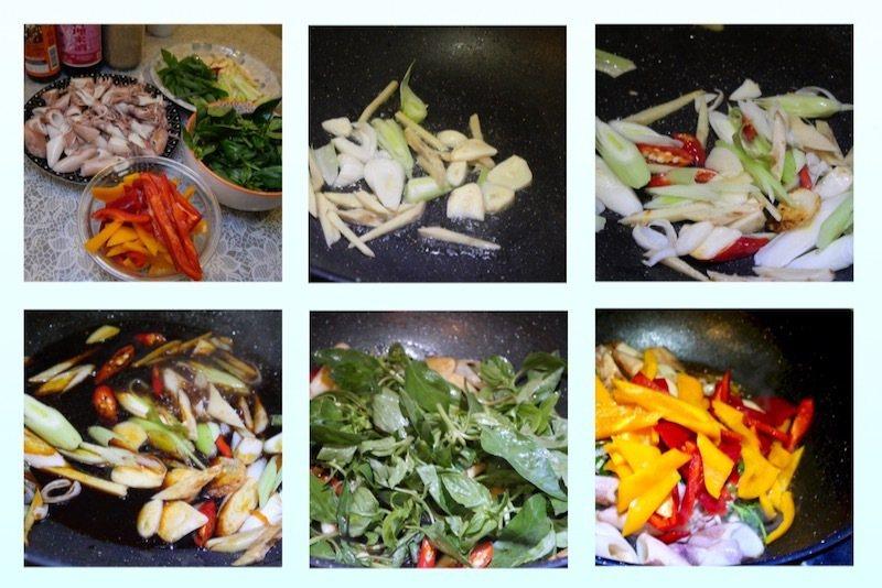 塔香炒時蔬小卷。