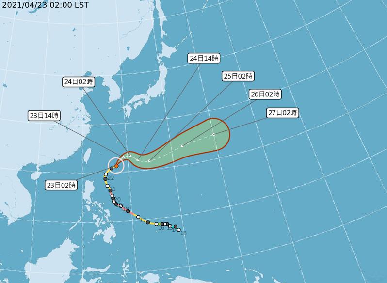 今天舒力基颱風逐步遠離台灣東方海面,順著西風帶往東前進,未來幾天也將逐步消散。圖為路徑潛勢預報。圖/取自氣象局網站
