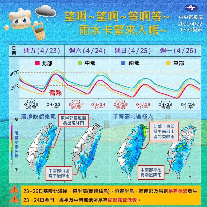 今、明兩天大氣環境依舊偏濕,東半部仍會下雨,中南部山區也有機會再出現午後陣雨。圖/取自臉書粉專「報天氣 - 中央氣象局」
