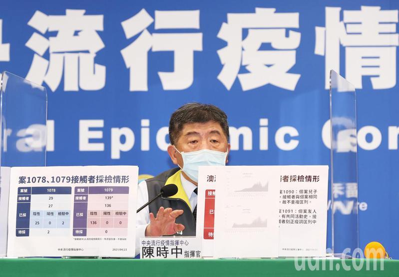 衛福部長陳時中今天出席中央流行疫情指揮中心記者會,證實日前確診新冠肺炎的印尼籍機師,今日確診該機師在台同住的家人,為台灣本土病例,也呼籲符合施打疫苗的民眾儘速施打。記者潘俊宏/攝影