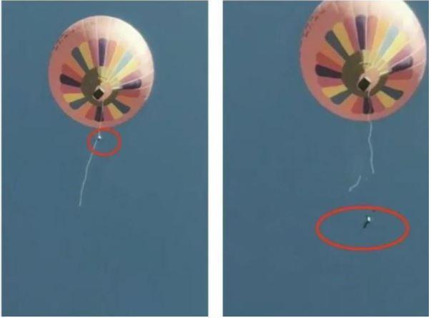 雲南騰沖火山地質公園的熱氣球體驗,因為突遇大風,操作人員被帶到空中後從繩上滑落,...