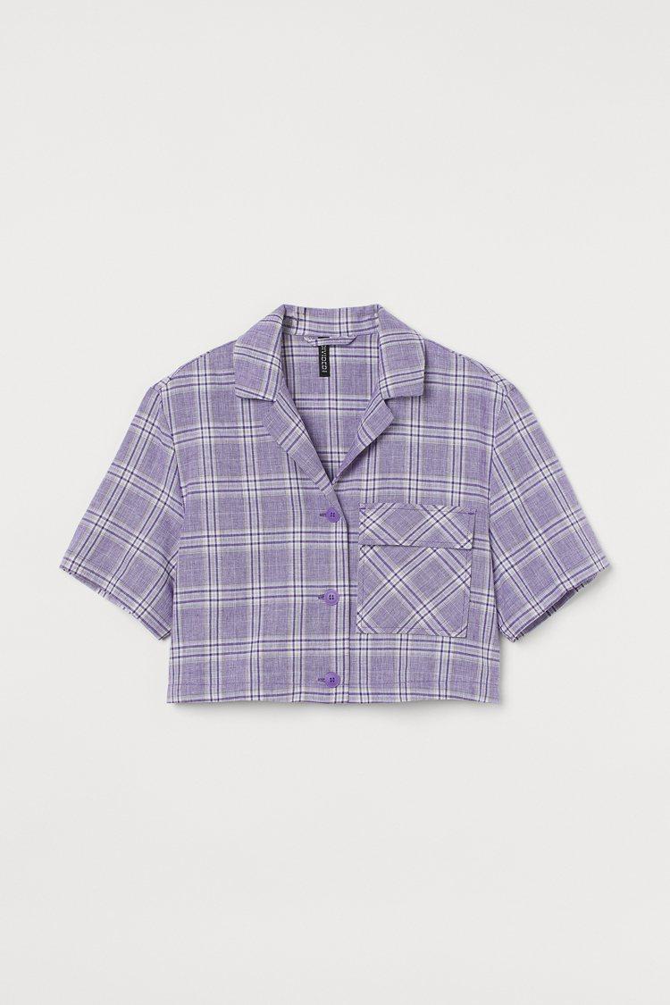H&M亞洲時尚系列大力水手聯名女裝短版格紋襯衫799元。圖/H&...
