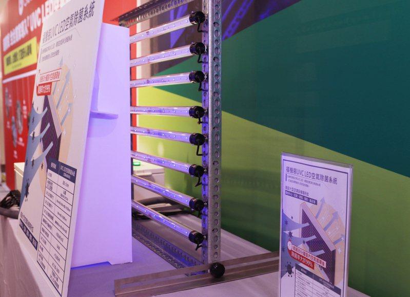 台塑集團旗下福機裝公司的「UVC LED空氣除菌系統」,利用深紫外線直接破壞病菌結構,降低環境中細菌病毒濃度、改善空氣品質。圖/環球購物中心Global Mall提供