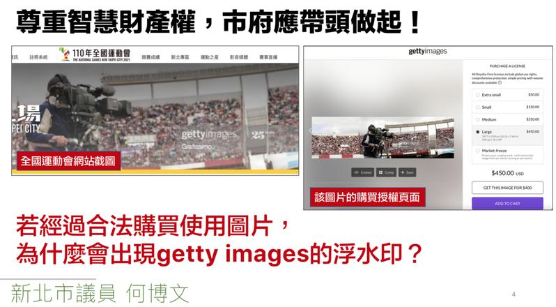 新北市議員何博文指出,全運會網站照片可看見有「getty images」浮水印,若有合法購買不會出現浮水印,但官網卻使用未被授權圖片。圖/何博文提供