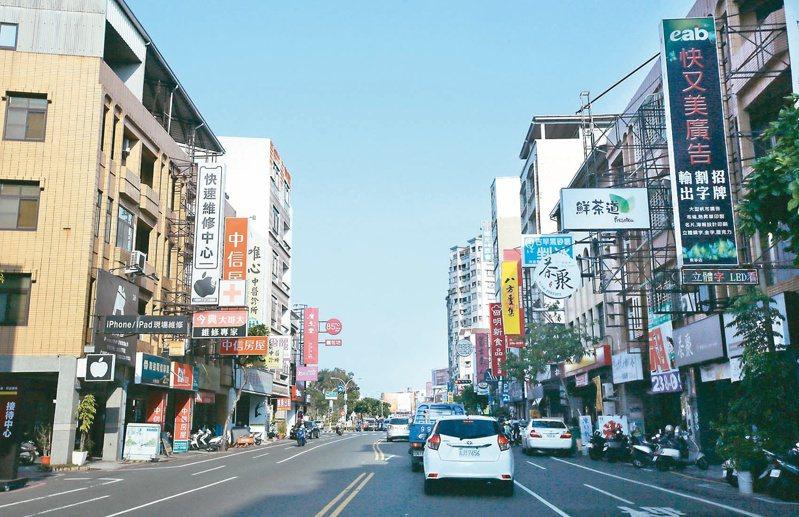 圖為台南東區地標,東寧路商圈。記者劉學聖/攝影