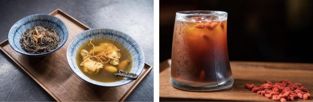 與北港在地傳承四代的「呷好麵」合作漢方杜仲麵,搭碗黃金蟲草雞湯和枸杞咖啡,感受漢...