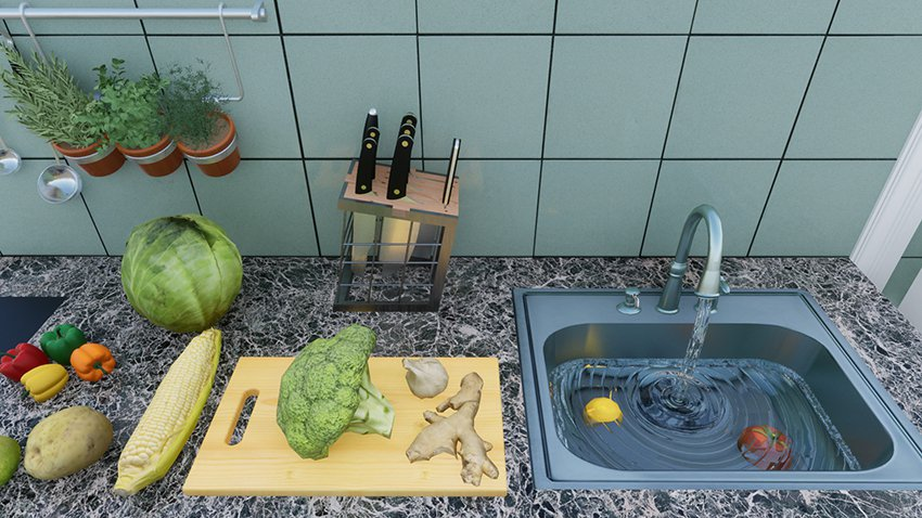VR場景中,創建擬真的流動水,運用在水龍頭流水。 盧博士虛擬實境設計工坊/提供